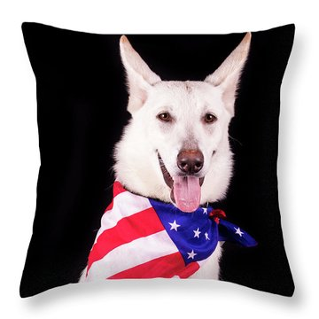 Patriotic Dog Throw Pillow by Stephanie Hayes