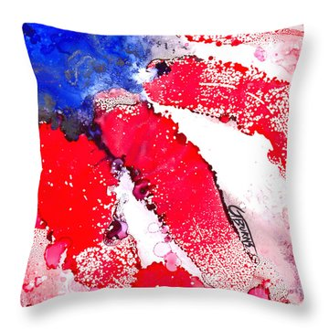Patriotic Flag Abstract  Throw Pillow by GG Burns