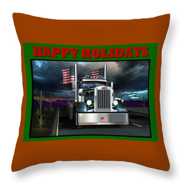 Throw Pillow featuring the digital art Patriotic Pete Happy Holidays by Stuart Swartz