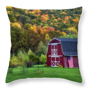 Patriotic Red Barn Throw Pillow