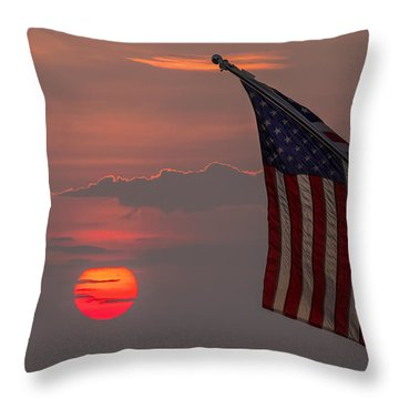 Patriotic Sunset Throw Pillow by Mark Papke