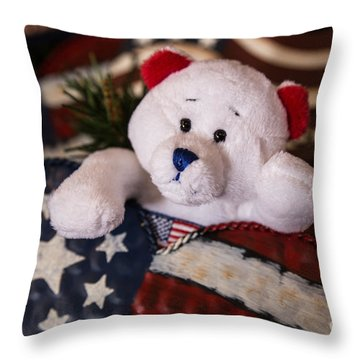 Patriotic Teddy Bear Throw Pillow by Lynn Sprowl