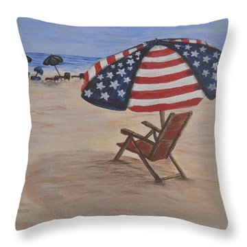 Patriotic Umbrella Throw Pillow