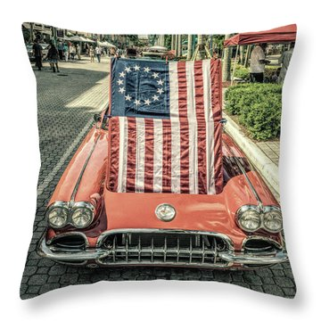 Patriotic Vette Throw Pillow