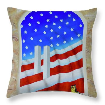 Throw Pillow featuring the painting Patriotic View by Mary Scott