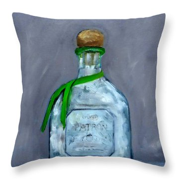 Patron Silver Tequila Bottle Man Cave  Throw Pillow