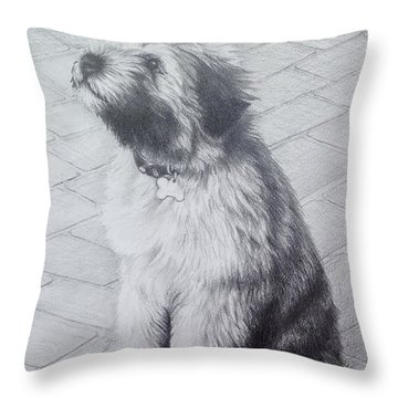 Throw Pillow featuring the drawing Patsy's Puppy by Mike Ivey