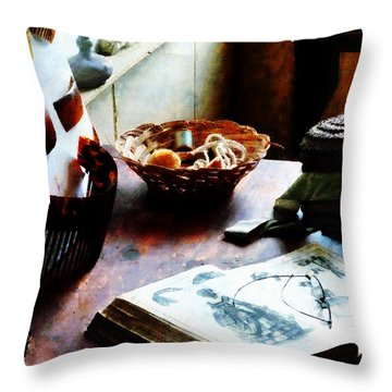 Pattern Book Throw Pillow by Susan Savad