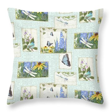 Throw Pillow featuring the painting Pattern Butterflies Dragonflies Birds And Blue And Yellow Floral by Audrey Jeanne Roberts