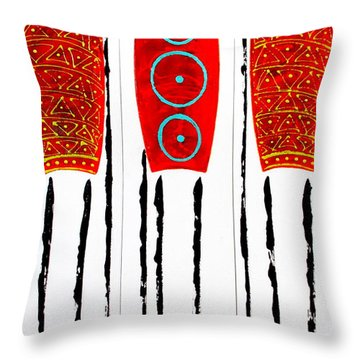 Patterned Masai Triptych Throw Pillow