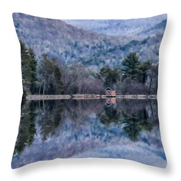 Patterns And Reflections At The Lake Throw Pillow by Nancy De Flon