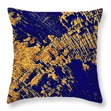 Throw Pillow featuring the photograph Tree Stump Pattern In Gold And Blue by Menega Sabidussi