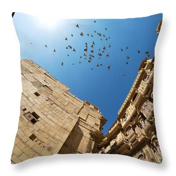 Throw Pillow featuring the photograph Patwon Ki Haveli by Yew Kwang