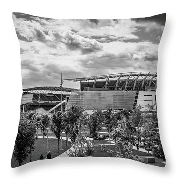 Paul Brown Stadium Black And White Throw Pillow by Scott Meyer