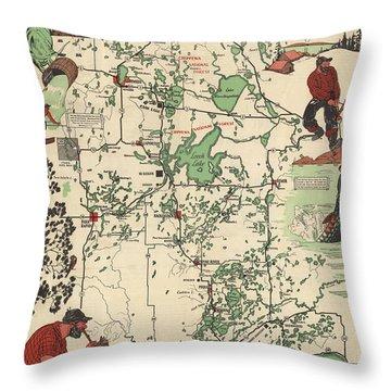 Paul Bunyan's Playground - Northern Minnesota - Vintage Illustrated Map - Cartography Throw Pillow