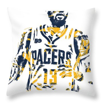 Paul George Indiana Pacers Pixel Art 7 Throw Pillow