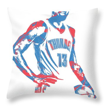 Paul George Oklahoma City Thunder Pixel Art 1 Throw Pillow