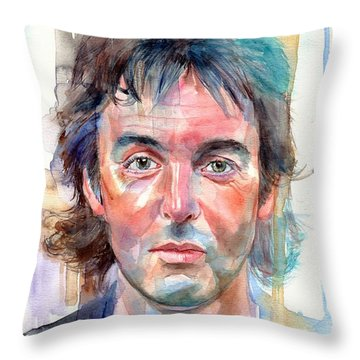 Paul Mccartney Young Portrait Throw Pillow