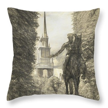 Paul Revere Rides Sketch Throw Pillow