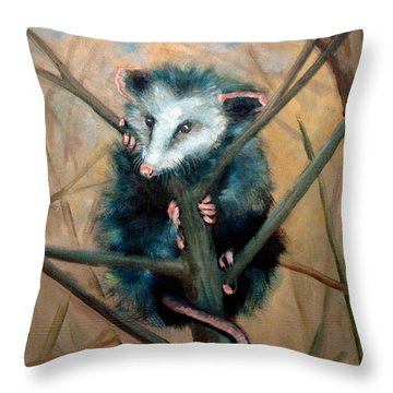 Throw Pillow featuring the painting Paulie Chose Poorly by Suzanne McKee