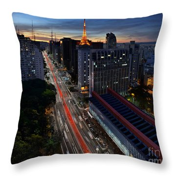Paulista Avenue And Masp At Dusk - Sao Paulo - Brazil Throw Pillow