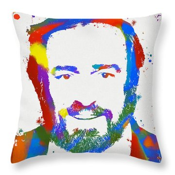 Pavarotti Colorful Paint Splatter Throw Pillow by Dan Sproul