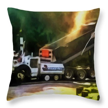 Pavement Machine Laying Fresh Asphalt  On Top Of The Gravel Base During Highway Construction Throw Pillow by Lanjee Chee