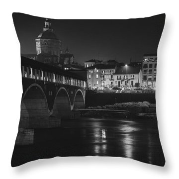 Pavia At Night Throw Pillow by Cesare Bargiggia