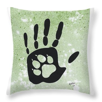 Paw And Hand Throw Pillow