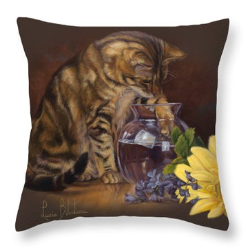Paw In The Vase Throw Pillow