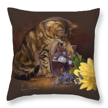 Paw In The Vase Throw Pillow by Lucie Bilodeau
