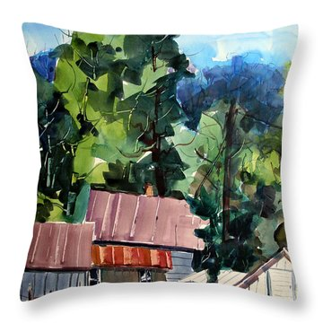 Throw Pillow featuring the painting Paw Paw Pike Pastoral by Charlie Spear