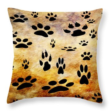 Throw Pillow featuring the digital art Paw Prints by Andee Design