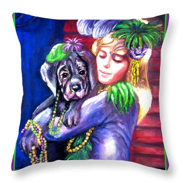 Pawdi Gras Throw Pillow