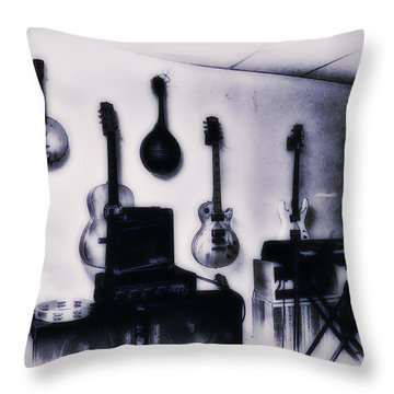 Pawn Shop Guitars Throw Pillow by Bill Cannon