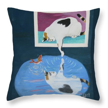 Throw Pillow featuring the painting Paws And Effect by Phyllis Kaltenbach
