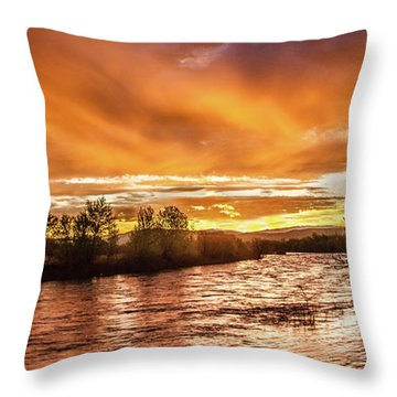 Payette River Sunrise Throw Pillow by Robert Bales