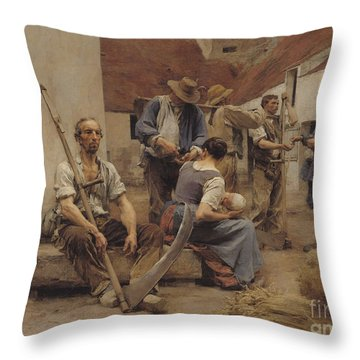 Paying The Harvesters Throw Pillow by Leon Augustin Lhermitte