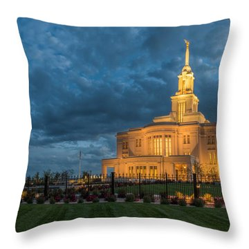 Throw Pillow featuring the photograph Payson Temple Panorama by Dustin  LeFevre