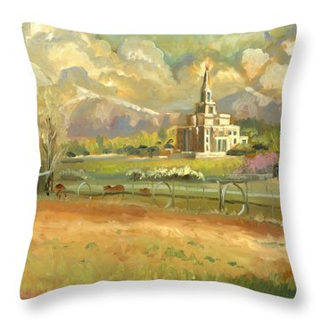 Payson Temple Plein Air Throw Pillow by Jeff Brimley