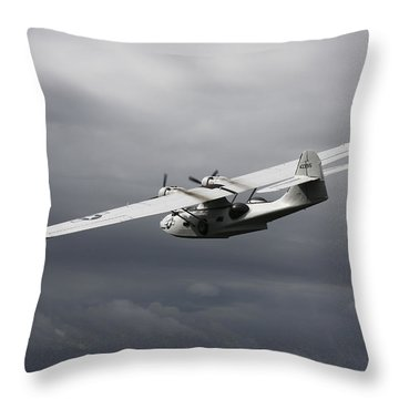 Pby Catalina Vintage Flying Boat Throw Pillow by Daniel Karlsson