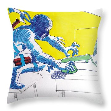 Pc Ninja Throw Pillow by Mike Jory