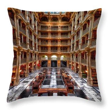 Peabody Library - Johns Hopkins University Throw Pillow