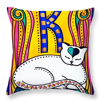 Peace And Love - Cat Art By Dora Hathazi Mendes Throw Pillow