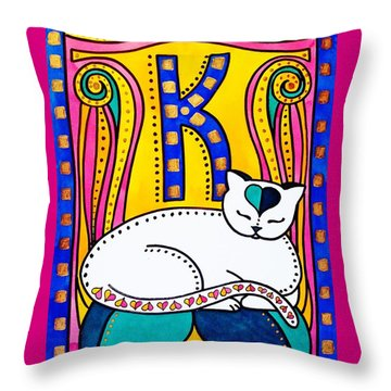 Throw Pillow featuring the painting Peace And Love - Cat Art By Dora Hathazi Mendes by Dora Hathazi Mendes