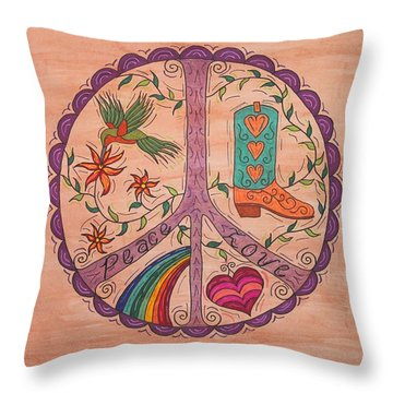 Peace And Love Western Style Throw Pillow