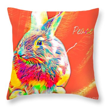 Throw Pillow featuring the mixed media Peace Bunny by Jessica Eli