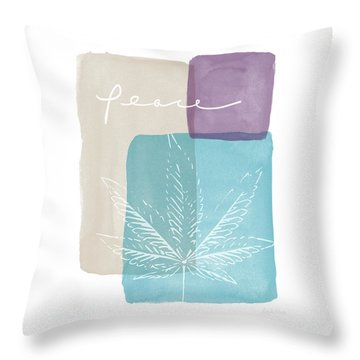 Peace Cannabis Leaf Watercolor- Art By Linda Woods Throw Pillow by Linda Woods
