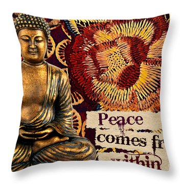 Peace Comes From Within. Buddha Throw Pillow