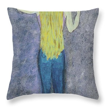 Throw Pillow featuring the mixed media Peace by Desiree Paquette